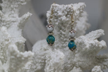 Load image into Gallery viewer, Blue sea sediment jasper and white howlite gemstone bead sterling silver earrings