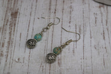 Load image into Gallery viewer, Blue sea sediment jasper bead sterling silver earrings