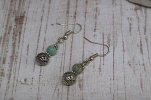Blue sea sediment jasper bead sterling silver earrings