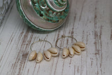 Load image into Gallery viewer, White cowrie shell silver earrings