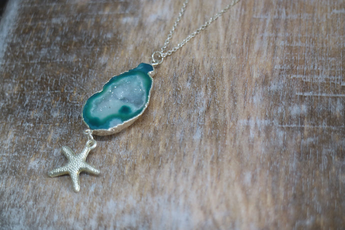 Green Geode Druzy Agate Crystal Silver Necklace with Starfish Charm