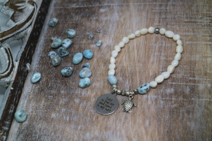 White shell beaded bracelet with Larimar nugget beads with silver 'salt in the air and sand in my hair' and turtle charm