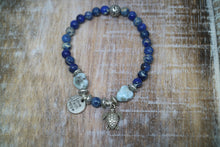 Load image into Gallery viewer, Blue Sea Sediment Jasper gemstone bead bracelet with Larimar nuggets with silver turtle charm
