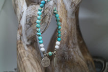 Load image into Gallery viewer, Blue Sea Sediment Jasper with white Howlite bead bracelet with silver 'gypsy soul' and feather charms