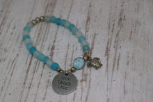 Load image into Gallery viewer, Blue Agate frosted beaded bracelet with Larimar nugget and silver turtle charm