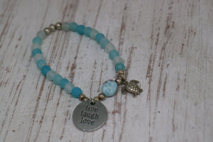 Blue Agate frosted beaded bracelet with Larimar nugget and silver turtle charm