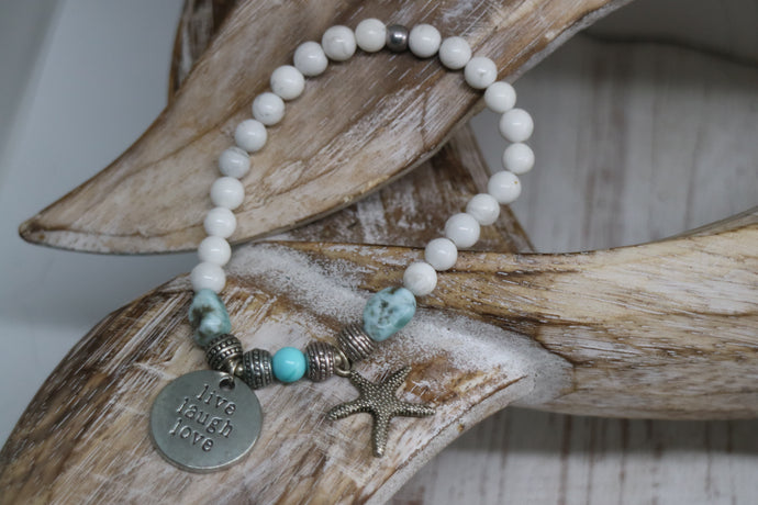White Howlite and Larimar nugget beaded bracelet with silver 'live laugh love' and starfish charm