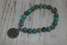 Load image into Gallery viewer, Blue Sea Sediment Jasper beaded bracelet with silver 'the beach is my happy place' charm