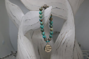 Blue Sea Sediment Jasper beaded bracelet with silver 'the beach is my happy place' charm