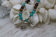 Load image into Gallery viewer, Turquoise gemstone and wood beaded bracelet with silver 'life's a beach' and starfish charms