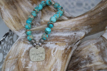 Load image into Gallery viewer, Blue Sea Sediment Jasper beaded bracelet with rustic silver 'dreaming of the sea' charm