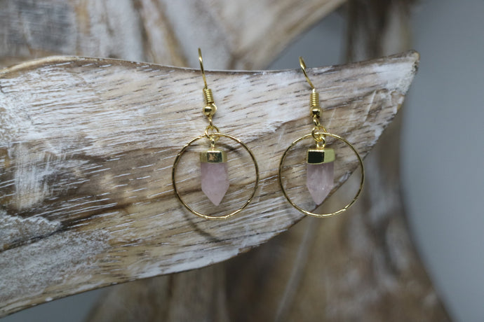 Rose quartz point gold earrings