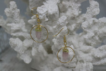 Load image into Gallery viewer, Rose quartz point gold earrings