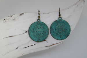 Green Bronze Patina Bohemian Turtle Earrings