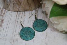 Load image into Gallery viewer, Green Bronze Patina Bohemian Turtle Earrings