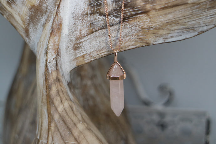 Rose Quartz Crystal Rose Gold Necklace