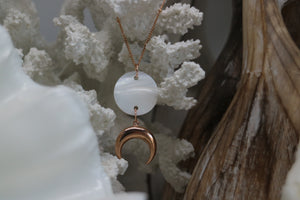 Mother of Pearl Shell Rose Gold Necklace with Rose Gold Moon Charm