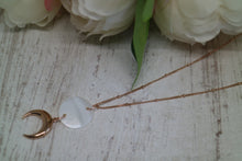 Load image into Gallery viewer, Mother of Pearl Shell Rose Gold Necklace with Rose Gold Moon Charm