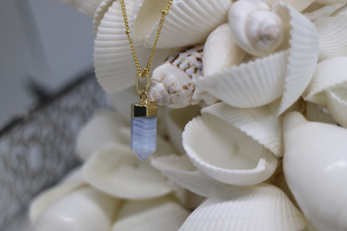 Blue Lace Agate Gold Necklace