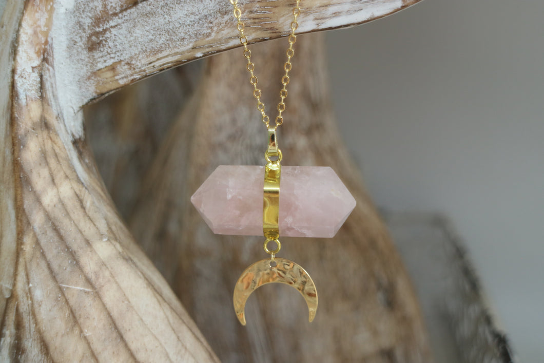 Rose Quartz Crystal Gold Necklace with Gold Moon Charm