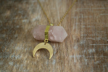 Load image into Gallery viewer, Rose Quartz Crystal Gold Necklace with Gold Moon Charm