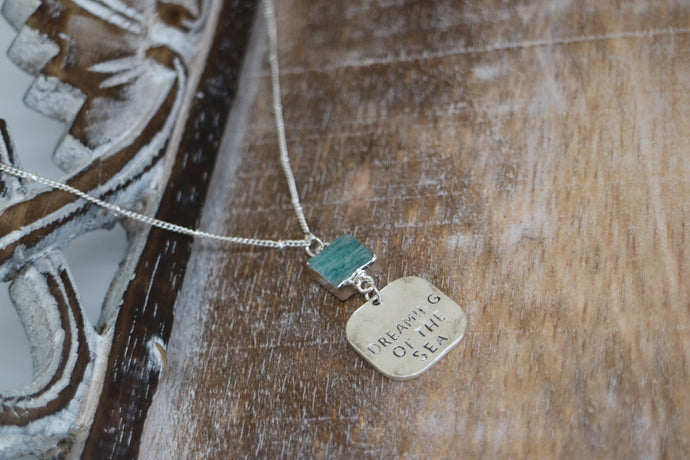 Amazonite Silver Necklace with charm