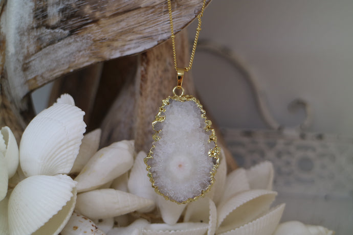 White Geode Druzy Crystal Gold Necklace