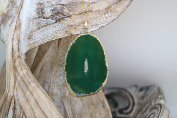 Misha Necklace - Green Agate / Gold