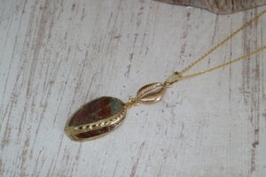 Paua Shell Gold Necklace with Shell Charm