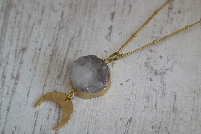 White Druzy Agate Crystal Gold Necklace with Moon Charm