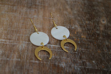 Load image into Gallery viewer, White mother of pearl shell gold earrings with 24k gold plated moon charms