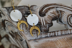 White mother of pearl shell gold earrings with 24k gold plated moon charms