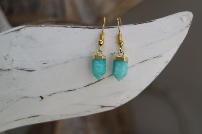 Amazonite crystal point gold earrings