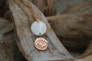 Mother of Pearl Shell Rose Gold Pendant Necklace
