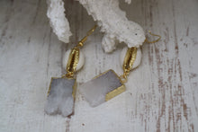 Load image into Gallery viewer, White Druzy Quartz crystal gold earrings with white and gold cowrie shells