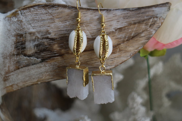 White Druzy Quartz crystal gold earrings with white and gold cowrie shells