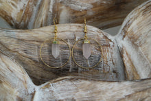 Load image into Gallery viewer, Rose quartz crystal point gold earrings