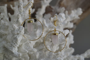 Rose quartz crystal point gold earrings