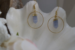 Blue lace agate crystal point gold earrings