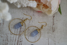 Load image into Gallery viewer, Blue lace agate crystal point gold earrings
