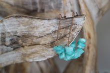 Load image into Gallery viewer, Amazonite gemstone chips on antique copper earring loops