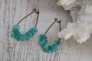 Amazonite gemstone chips on antique copper earring loops