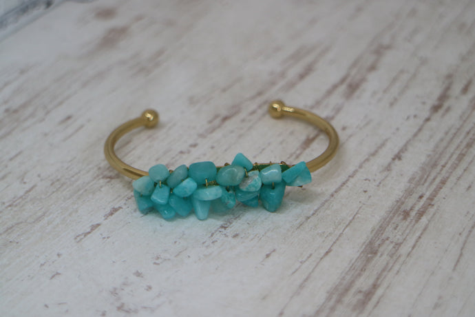 Amazonite gemstone chips with 16k gold plated wire wrapped on a gold plated bracelet