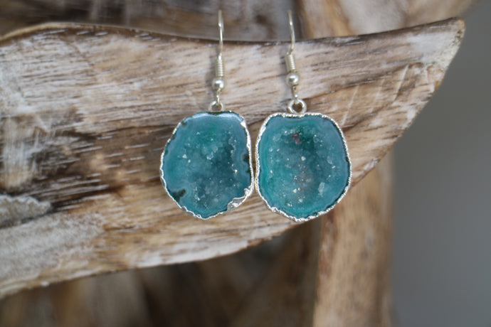 Blue geode druzy agate silver earrings