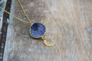 Purple Geode Druzy Agate Crystal Gold Necklace with Gold Moon Charm