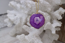 Load image into Gallery viewer, Purple Solar Quartz Crystal Gold Necklace