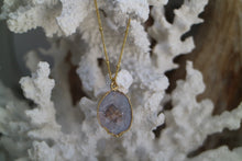Load image into Gallery viewer, White Geode Druzy Crystal Gold Necklace