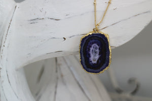 Purple Solar Quartz Crystal Gold Necklace