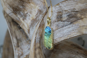 Labradorite Gemstone Gold Necklace