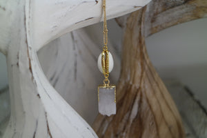 White Druzy Quartz gold necklace with shell